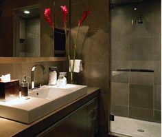 Bathroom idea. Nice pop of color in the floral choice