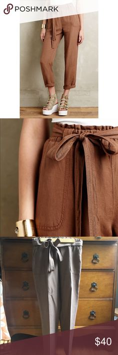 Brown Linen Pants Elastic waist brown linen pants. Great condition. Super comfy and cute. Size xxsp brand catonnier from anthro. Color is more accurately shown in the model photos due to the lighting in my room. Anthropologie Pants Trousers