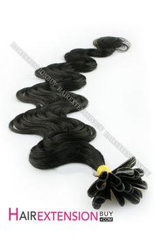 "16"" #1 Jet Black Body Wave Nail Tip Human Hair Extensions [NRHBWH1601]"