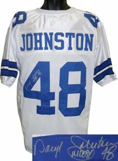 """Daryl Johnston signed Dallas Cowboys White Prostlye Jersey Moose by Athlon Sports Collectibles. $169.00. Daryl Johnston was drafted by the Cowboys in the second round of 1989 NFL Draft. There he received his nickname """"Moose"""". In the NFL, he scored 22 career touchdowns but had more receptions in his career than carries. Johnston earned a trip to the Pro Bowl in 1993 and 1994. Johnston was a member of three Super Bowl winning teams. In 1993 Johnston became the first fullback eve..."""