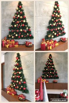 Looking for Christmas decoration for small space. Then you should definetly put up a wall Christmas Tree. Here are best DIY Wall Christmas tree ideas. Wall Christmas Tree, Unique Christmas Trees, Noel Christmas, Simple Christmas, Christmas Ornaments, Christmas Tree Ideas For Small Spaces, Outdoor Christmas, Christmas Decorations Apartment Small Spaces, Christmas Background