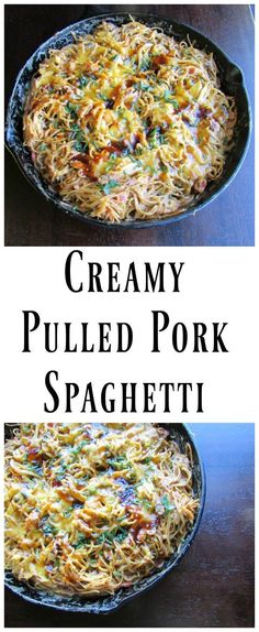 Have some leftover pulled pork but don't want to make more sandwiches?  Break out the spaghetti and make this! It is creamy, fun and oh so good!