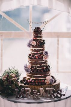 Naked Black Forest Gateau Cake Beautiful Relaxed Summer Blush Wedding http://jenmarino.com/