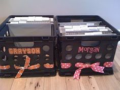 Kids school paper organizers.Great idea to use for organizing all those keepsakes school papers.