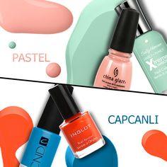 Hepsi hepsi :))) Senin tırnaklarında tercihin pastel ojeler mi, yoksa capcanlı olanlar mi? #nailart