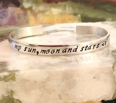 Sun Moon Stars Custom Stamped Bracelet  by BlueCornerCreasigns