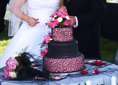 Pink and Black Wedding Cake  By Curtis-C-Cakes