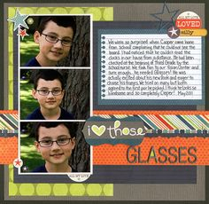 #papercraft #scrapbook #layout 3 photo scrapbook Boy Layout do this but for Tanners brown eyes that he doesn't like.