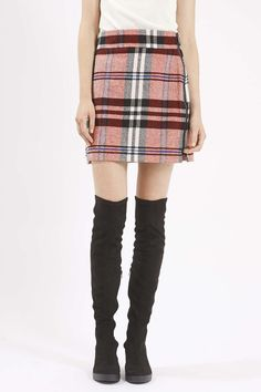 Photo 3 of PETITE Checked Twill High-Waisted Skirt