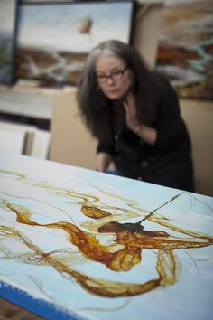 Seattle encaustic artist Alicia Tormey in her studio.