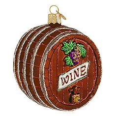 """Wine Barrel Glass Ornament - This exquisitely detailed wine barrel is sure to please the taste-tempting wine connoisseur on your Christmas list! With vivid glazes and sparkling glitter accents, this charming wine barrel ornament is 3½"""" tall and crafted of glass. $14.99"""