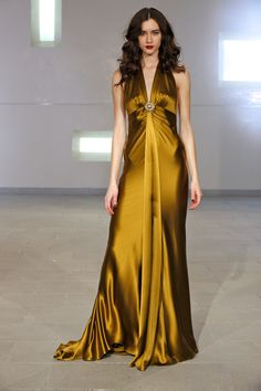 Dark gold charmeuse gown from Marc Bouwer Couture