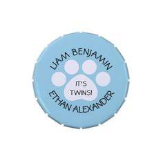 #shower - #Baby Shower - Twin Boys - Paw Print Theme Jelly Belly Candy Tins