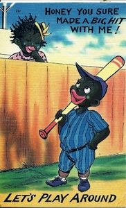 "1945 Black Americana Linen comic of shy girl flirting with baseball player 'between the fence'  ""Honey, You Sure Made a Big Hit With Me!"""