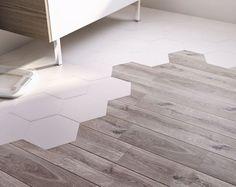 Floor and wall tiles white 258 x 29 cm Kanya CASTORAMA Carrelage sol et mur blanc 258 x 29 cm Ka Tile To Wood Transition, Transition Flooring, Floor Design, Tile Design, House Design, Wooden Flooring, Kitchen Flooring, Tile Wood, Home Renovation