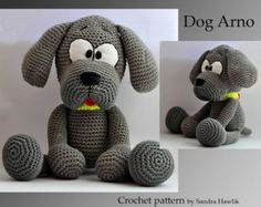 crochet pattern, amigurumi,  dog  - pdf, English or German