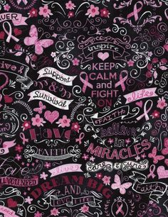 "Timeless Treasures ""Pink Ribbon Chalkboard"""