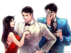 Oh Clark, you know Bruce is only flirting?  Wait till Wonderwoman hears of it!  >__<  Lois Lane and Bruce Wayne and Clark Kent by Haining-art.deviantart.com on @deviantART
