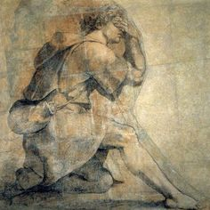 Raphael - Moses before the burning bush. Chalk and graphite on card.