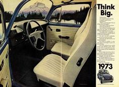 "1973 VW Beetle Bug Car Ad ""Think Big"""