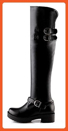 CHFSO Women's Trendy Fully Fur Lined Waterproof Buckle Mid Stacked Heel Over The Knee Winter Boots Black 6 B(M) US - Boots for women (*Amazon Partner-Link)
