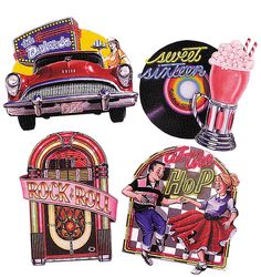 Turn your party into a retro sock hop with these Party Decorations. Fifties Party, 1950s Party, Retro Party, 50s Party Decorations, 50s Theme Parties, Party Themes, Party Ideas, Wall Decorations, 60s Theme