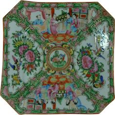 Rose Medallion 20th c. Chinese Export Hex Shape Plate from Maiden Memories on Ruby Lane