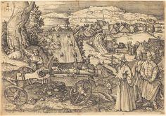 Heironymus Hopfer (after Durer) The large cannon; copy after Dürer's etching (Meder the cannon on l, a group of orientals on r, landscape background. 16th Century Clothing, Landscape Background, Albrecht Durer, Mirror Image, Original Image, Cannon, Medieval, Vintage World Maps, History