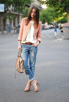 boyfriends jeans w/ jacket and heels