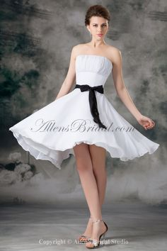 Chiffon Strapless Knee Length Column Sash Short Wedding Dress, Silhouette: Column Neckline: Strapless Neckline Fabric: Chiffon Size: Standard Size or Custom Made Size Color: Picture Color Or Check from Color Chart Tea Length Wedding Dress, Wedding Party Dresses, Tulle Wedding, Prom Dresses 2017, Short Dresses, Dresses 2013, Cheap Dresses, White Bridesmaid Dresses, Mini Robes