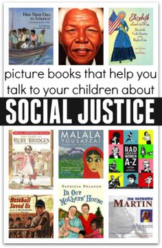 """""""Social Justice Literacy Books"""" from No Time for Flash Cards. This is a list of resourceful books on the theme of social justice. One book I would use in my classroom is """"Ruby Bridges"""" which I used in one of the lesson plan we created in class. Help Teaching, Teaching Reading, Kids Reading, Reading Nook, Teaching Themes, Kids Writing, Teaching Strategies, Guided Reading, Reading Lists"""