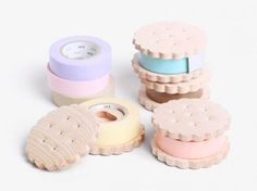 Too cute, Kawaii Washi Tape Holders matched with pastel tape in biscuit form for every biscuit lover Stationary Supplies, Desk Supplies, Stationary Design, Menu Design, Design Design, Office Supplies, Logo Design, Cool School Supplies, Diy Cadeau