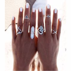 Silver Crystal Boho Ring Set with 6 Pieces