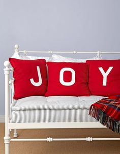 I love these JOY pillows for my entry way bench at Christmas!!!