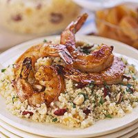 Apricot Shrimp with Fruity Couscous.