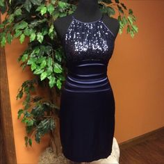 Stunning Navy Dress W/Sequin Neckline By B Smart