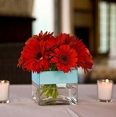 red and teal small reception wedding flowers,  wedding decor, wedding flower centerpiece, wedding flower arrangement, add pic source on comment and we will update it. www.myfloweraffair.com can create this beautiful wedding flower look.
