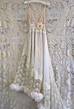 asymmetrical taupe ecru & cream ruffled lace by mermaidmisskristin