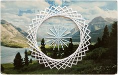 Geometric embroidery  on vintage postcards. Check out the set of 30 - they're great!