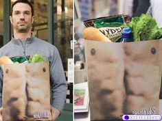 all I can say is I'd love to see my husband carry the groceries in with these bags.  Comical!