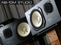 These are the Yamaha NS10s. The NS10 monitors are found in many studios today and are used extensively for mixing because of their incredibly flat frequency response and accurate stereo imaging. They are considered a standard in the mixing world due to their accurate sound reproduction. They are often the best value to monitor mixes in the sub $500 price range. However, these flagship monitors are no longer in production and must be bought used.