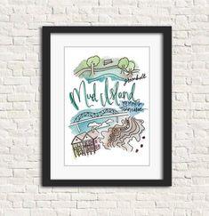 Mud Island, TN Print $20 8x10 Art Print Handlettered Watercolor Gift Tennessee