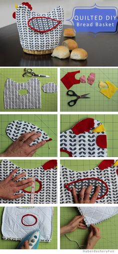 DIY.. Quilted Bread Basket Cover. Tutorial and pattern available.. Check out the Haberdashery Fun blog for more info