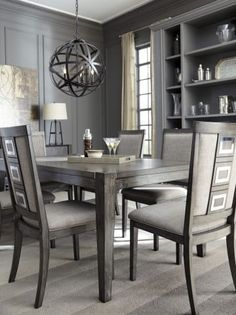 Grey Dining Tables, Extendable Dining Table, Dining Table In Kitchen, Dining Room Chairs, A Table, Side Chairs, Dinner Table, Grey Dining Rooms, Grey Dining Room Furniture
