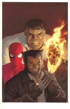 The New Fantastic Four Ghost Rider Hulk Spiderman & Wolverine by Paolo Rivera Comic Book Artists, Comic Book Characters, Marvel Characters, Comic Books Art, Comic Art, Marvel Comic Universe, Marvel Comics Art, Comics Universe, Marvel Heroes