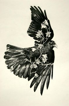 crow tattoo<----like this, only with a tree branch Flower Tattoos, Small Tattoos, New Tattoos, Sister Tattoos, Tasteful Tattoos, Crow Art, Raven Art, Tattoo Studio, Familie Symbol