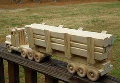 wooden toy logging semi by MyGrandpasWoodToys on Etsy