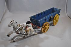 Toy Wagon, Cast Iron, It Cast, Tiny Bunny, Covered Wagon, Flower Holder, Wooden Figurines, Metal Toys, Stamp Making