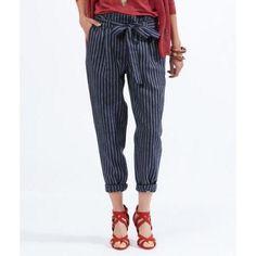 Pantalon carotte à ceinture - WOLO - BLEU - Etam