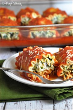 Lasagna Rolls (with Spinach and Chicken)